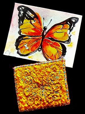 Artist trading cards featuring butterflies