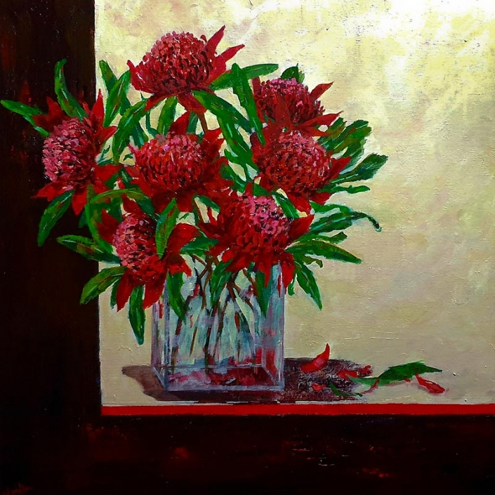 'Waratah, Springs Offering', still life painting of red waratah flowers in glass vase, by Catherine Hamilton