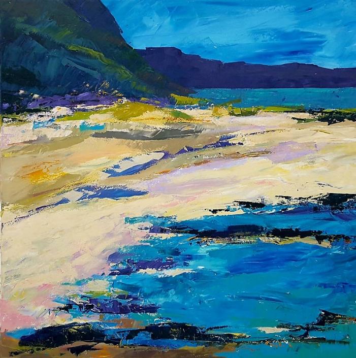 'Around the Headland Coastal Walk', seascape painting by Catherine Hamilton, acrylic and inks