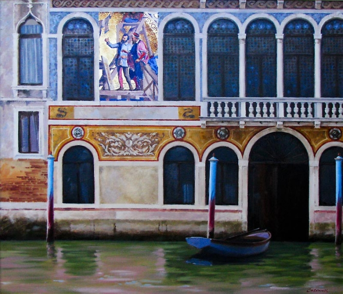 'Barbarigo', oil painting of Venetian building, canal and boat,by BillCaldwell