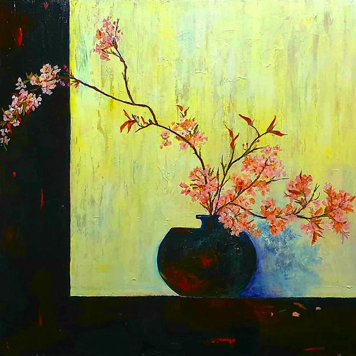 'Cherry Blossom and Japanes Vase', painting of peach coloured blossom in a dark vase, by Catherine Hamilton