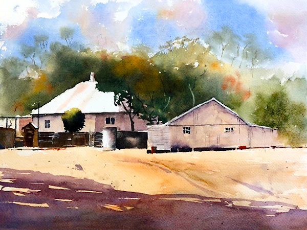 'Clifford Homestead', watercolour class project by Peter