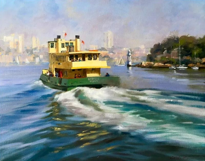 'Commuters at Cremorne', oil painting of a ferry on Sydney harbour by Bill Caldwell