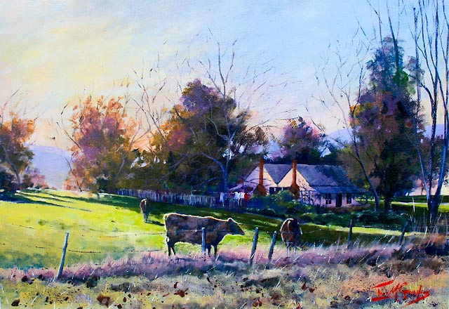 Autumn Glow Healesville, acrylic painting of a pastoral scene with farmhouse and cows, by Julie Goldspink
