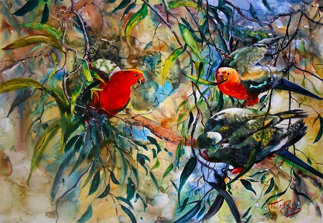 Hanging Around No 3, watercolour painting of king parrots, by Julie Goldspink on 200gsm Yupo paper