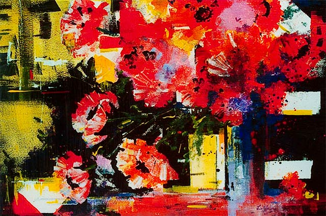 Poppy Time, acrylic painting of red poppies, by Julie Goldspink