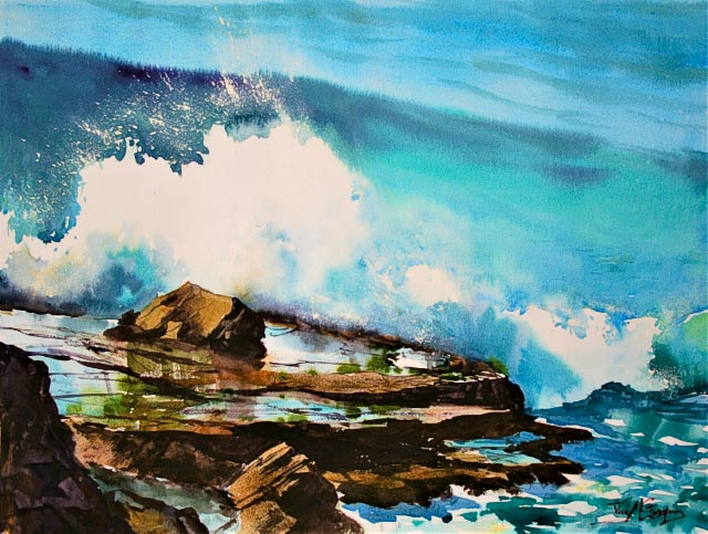 Sorrento Breakers, watercolour seascape painting by Julie Goldspink on Canson Heritage 300gsm paper