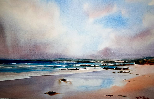 Southern Coastal Beauty, watercolour painting by Julie Goldspink on Arches 300gsm watercolour paper