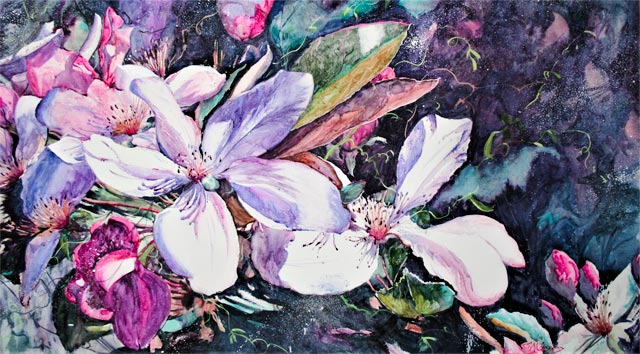 Spring Awakens, watercolour painting of flowers by Julie Goldspink on watercolour canvas
