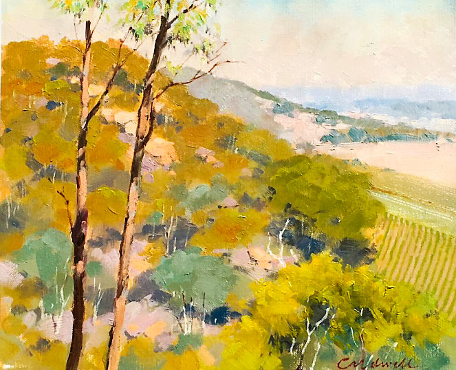 'Kelly Country Glenrowan', landscape in oils, by Bill Caldwell