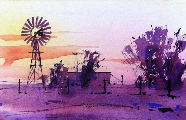 Malcolm Beattie, watercolour painting of an Australian rural landscape with windmill
