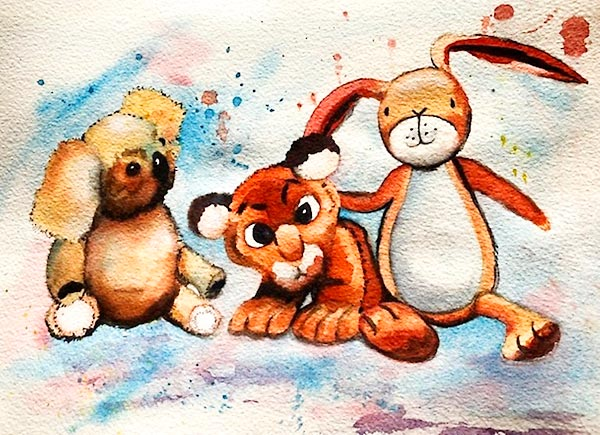 'Snuggle', watercolour of soft toys, class project by Trish