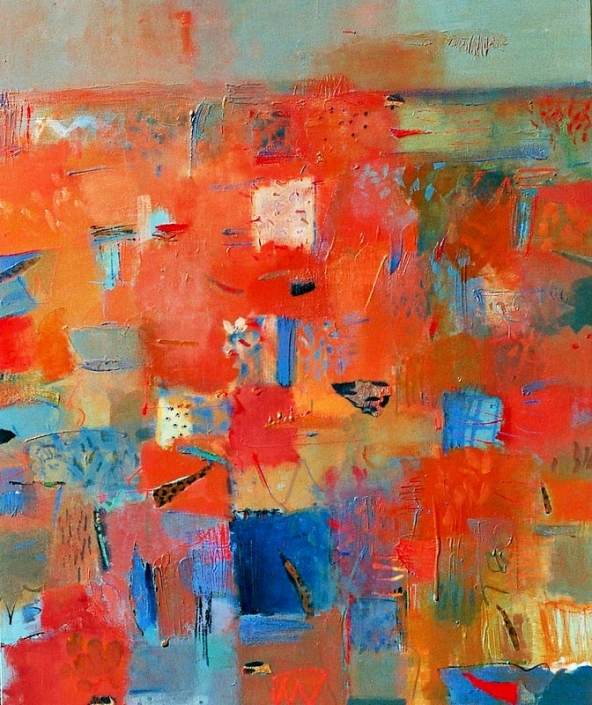 'Dusk's Haze Opal Country', painting in warm oranges and blues, by Su Fishpool, 120x102cm