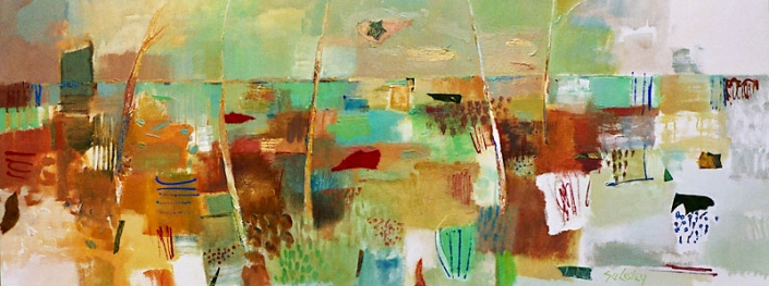 'Kissed By The Sun', painting in ochres and greens, by Su Fishpool, 70x180 cm