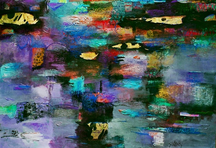 'Moonlight Swim', multi-coloured abstract painting, mixed media on paper by Su Fishpool, 70x100 cm