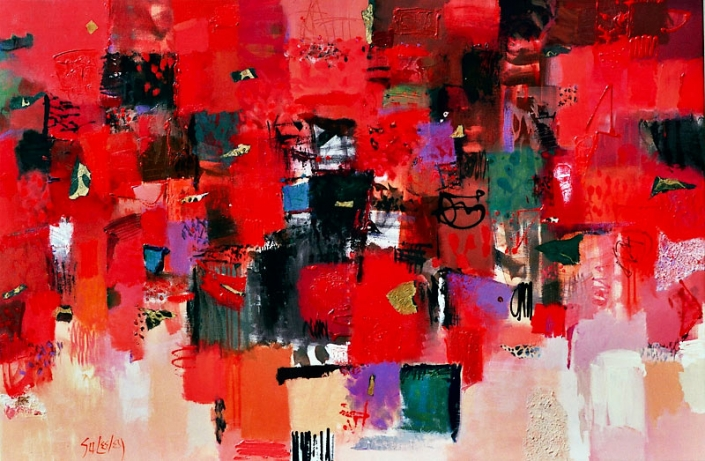 'Song Of The Lone Samurai', abstract painting featuring reds, green and black, by Su Fishpool, 100x150cm