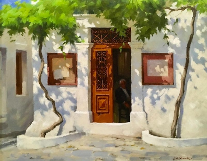 'The Old Tailors Shop', Greece, oil painting by Bill Caldwell