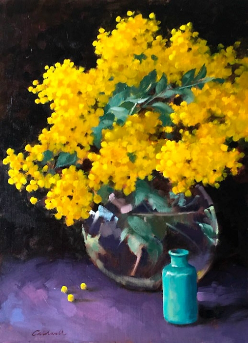 'Winter Gold', oil painting of golden wattle in a glass vase, by Bill Caldwell